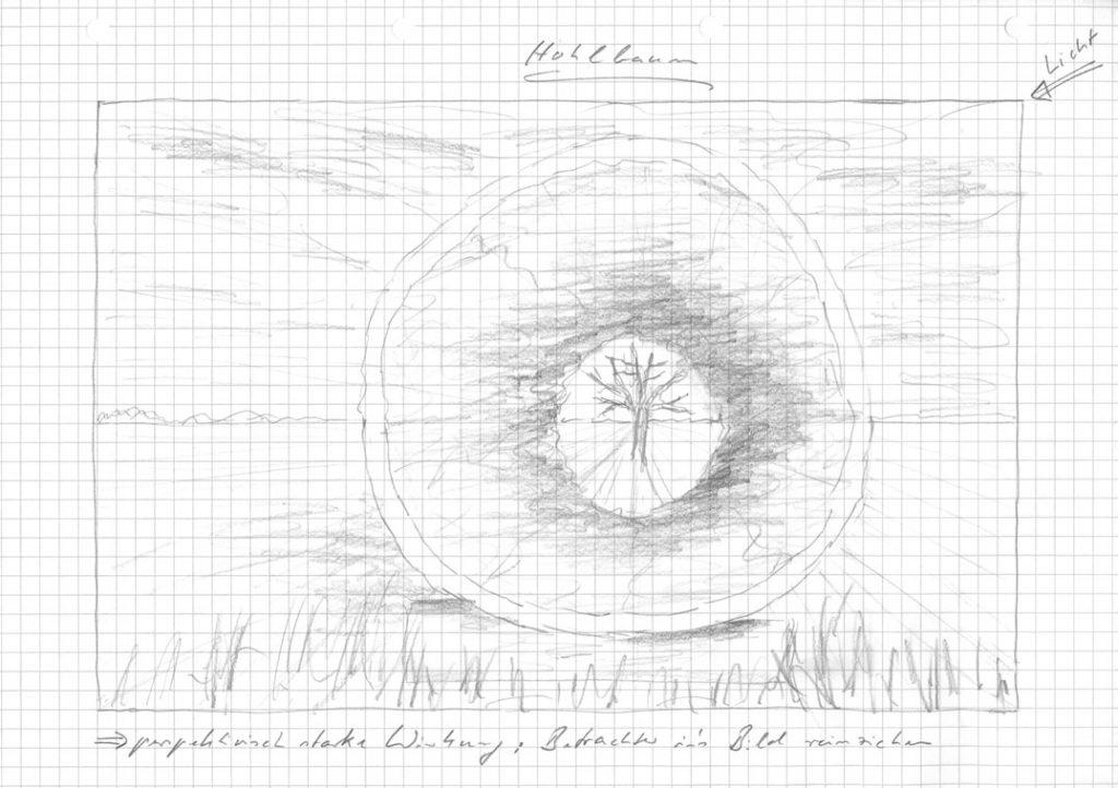 Skizze zum hohlen Baumstamm