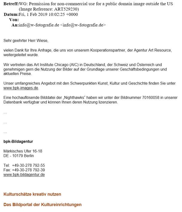 Antwort von bpk-Bildagentur