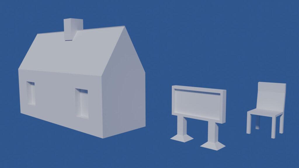 Szene mit Haus, Fernseher und Stuhl