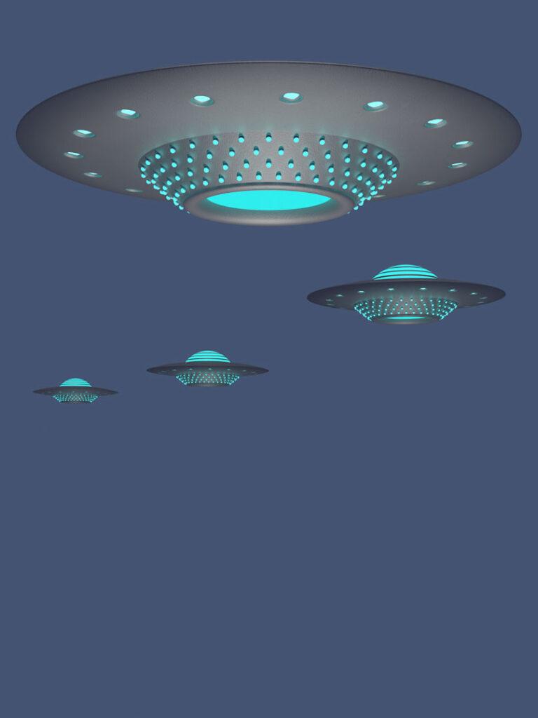 Vier 3D-Ufos im Formationsflug