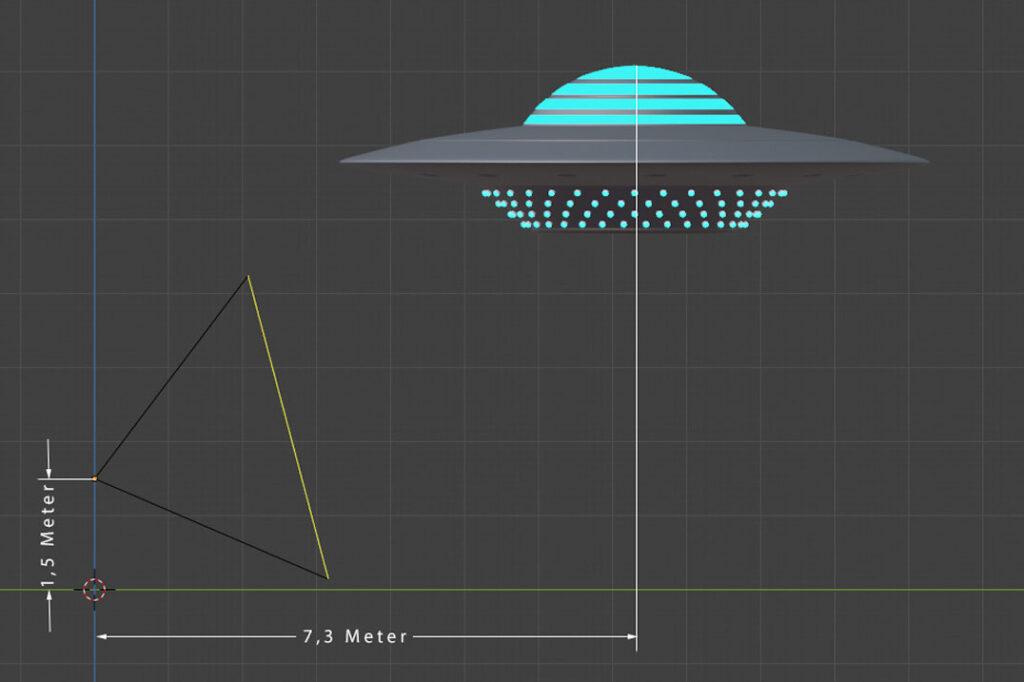 Ufo im 3D-Raum