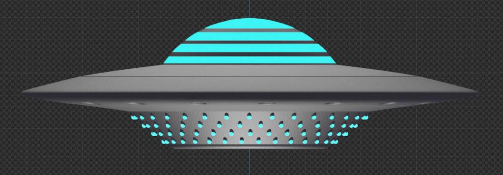 Ufo mit Material und Textur